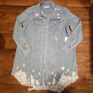 Good American Distressed Shirt Dress